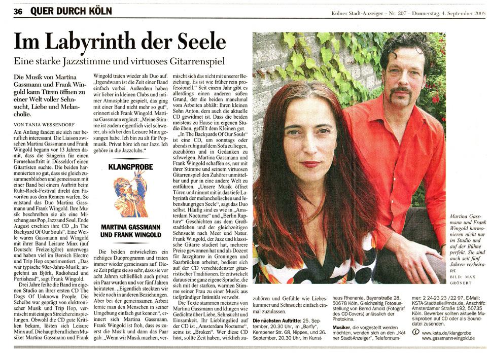 Kölner Stadtanzeiger September 2008